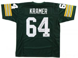 "Jerry Kramer Signed Green Bay Packers Green Custom Jersey With ""S.B. I & II"" Inscription-0"