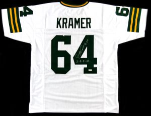 "Jerry Kramer Signed Green Bay Packers White Custom Jersey With ""S.B. I & II"" Inscription-0"