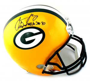"Aaron Rodgers Signed Green Bay Packers Riddell Full Size NFL Helmet with ""Fastest QB to 300 TD"" Inscription-0"