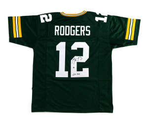 "Aaron Rodgers Signed Green Bay Packers Green Custom Jersey with ""XLV MVP"" Inscription-0"