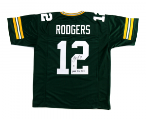 "Aaron Rodgers Signed Green Bay Packers Green Custom Jersey with ""Fastest QB to 300 TD's"" Inscription-0"