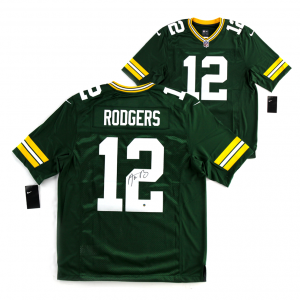 Aaron Rodgers Signed NFL Green Bay Packers Green Nike Limited Jersey-0