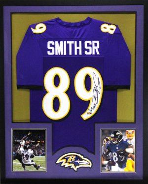 Steve Smith Sr Signed Baltimore Ravens Framed Purple Custom Jersey-0