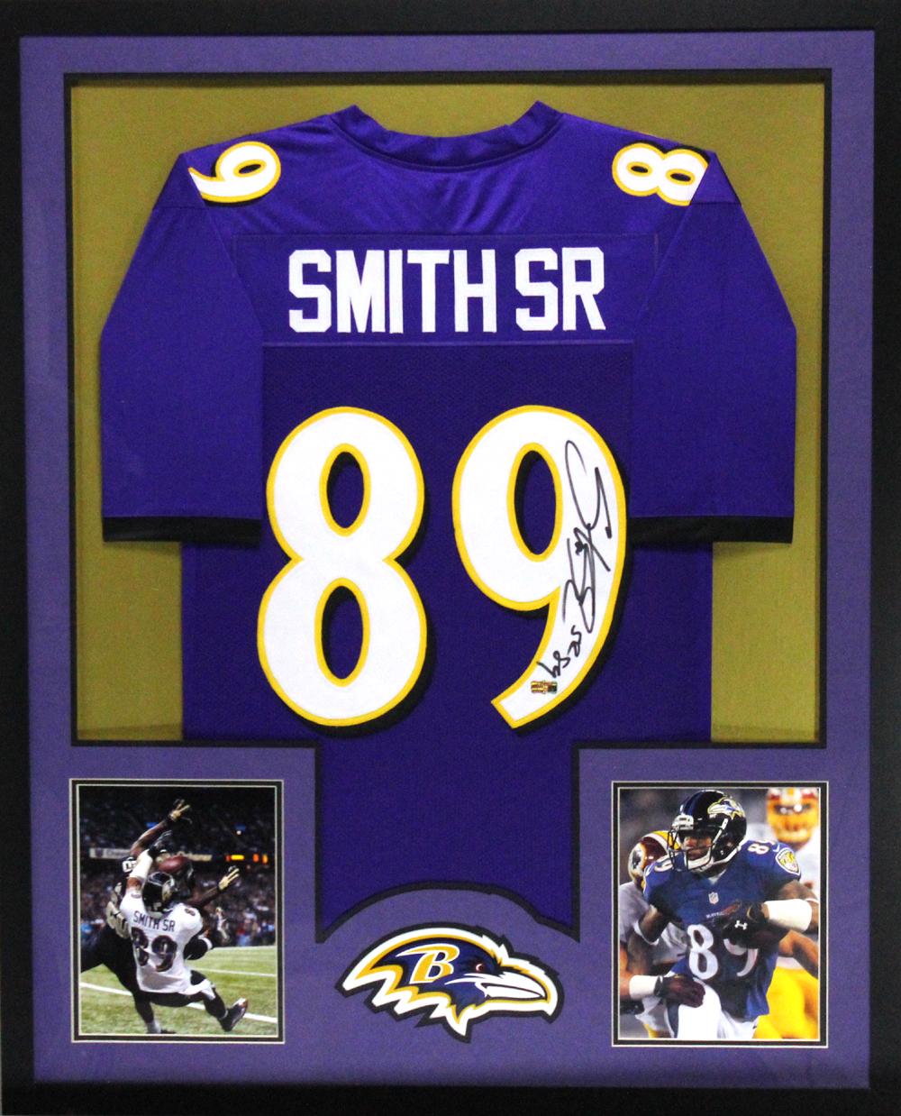 Steve Smith Sr Signed Baltimore Ravens Framed Purple Custom Jersey