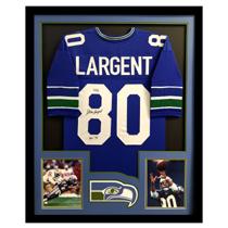 "Steve Largent Signed Seattle Seahawks Framed Throwback Blue Custom Jersey With ""HOF 95"" Inscription-27238"