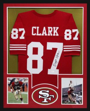Dwight Clark Signed San Francisco 49ers Framed Red Custom Jersey-0