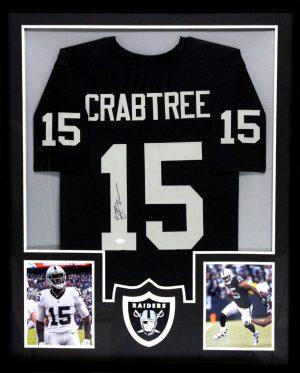 Michael Crabtree Signed Oakland Raiders Framed Black Custom Jersey-0