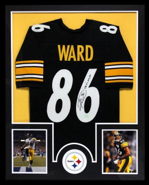 Hines Ward Signed Pittsburgh Steelers Framed Black Custom Jersey-0