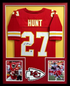 Kareem Hunt Signed Kansas City Chiefs Framed Custom Red Jersey-0