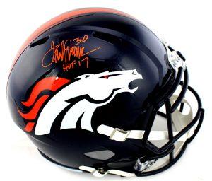 "Terrell Davis Signed Denver Broncos Riddell Speed NFL Helmet With ""HOF 17"" Inscription-0"