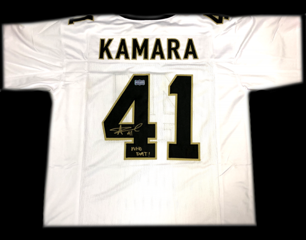 """Alvin Kamara Signed New Orleans Saints White Custom Jersey with """"Who Dat"""" Inscription-0"""