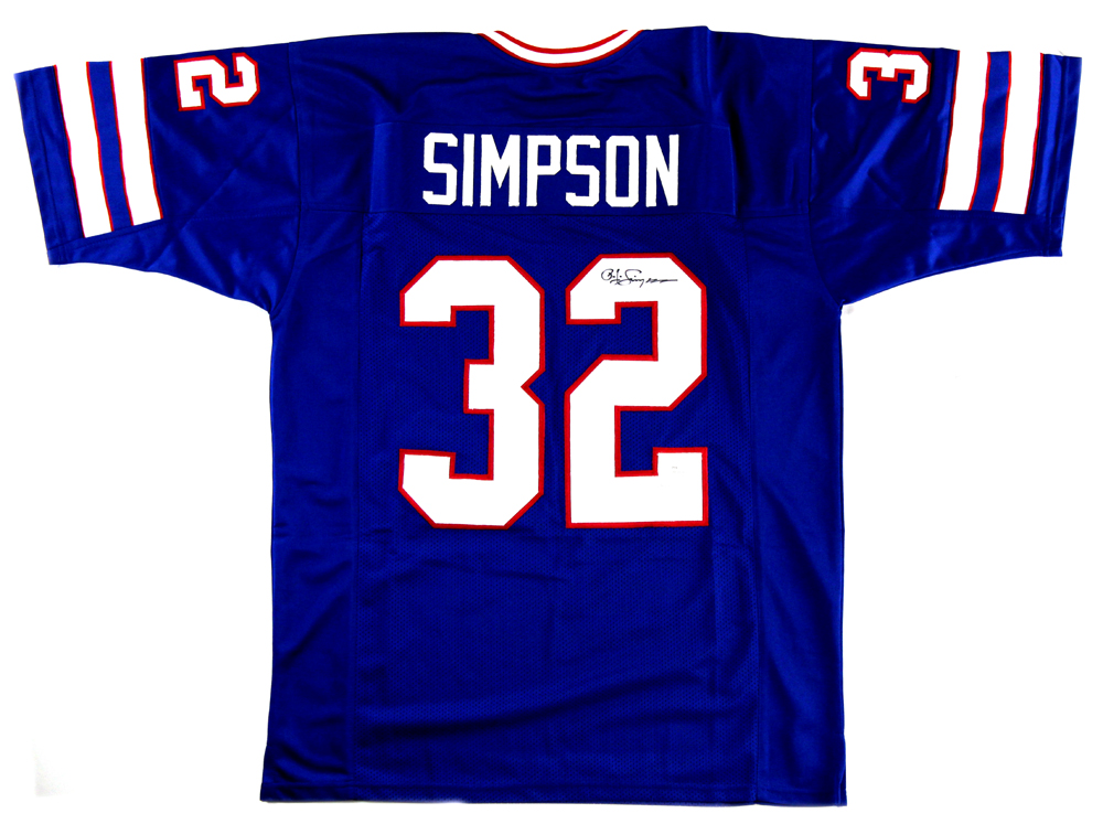 the best attitude 1c441 ba4a4 OJ Simpson Signed Buffalo Bills Blue Custom Jersey