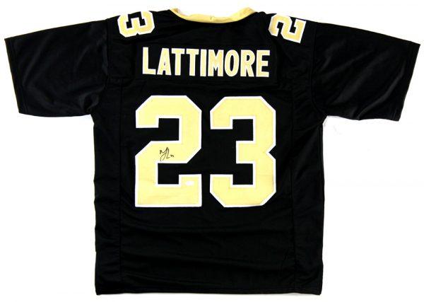 Marshon Lattimore Signed New Orleans Saints Black Custom Jersey-0