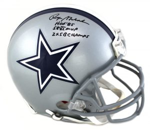 "Roger Staubach Signed Dallas Cowboys Riddell Authentic NFL Helmet With ""HOF 85, SB VI MVP, 2x SB CHAMPS"" Inscription-0"