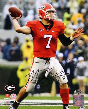 Matthew Stafford Signed Georgia Bulldogs 8x10 Photo - Red Jersey-0
