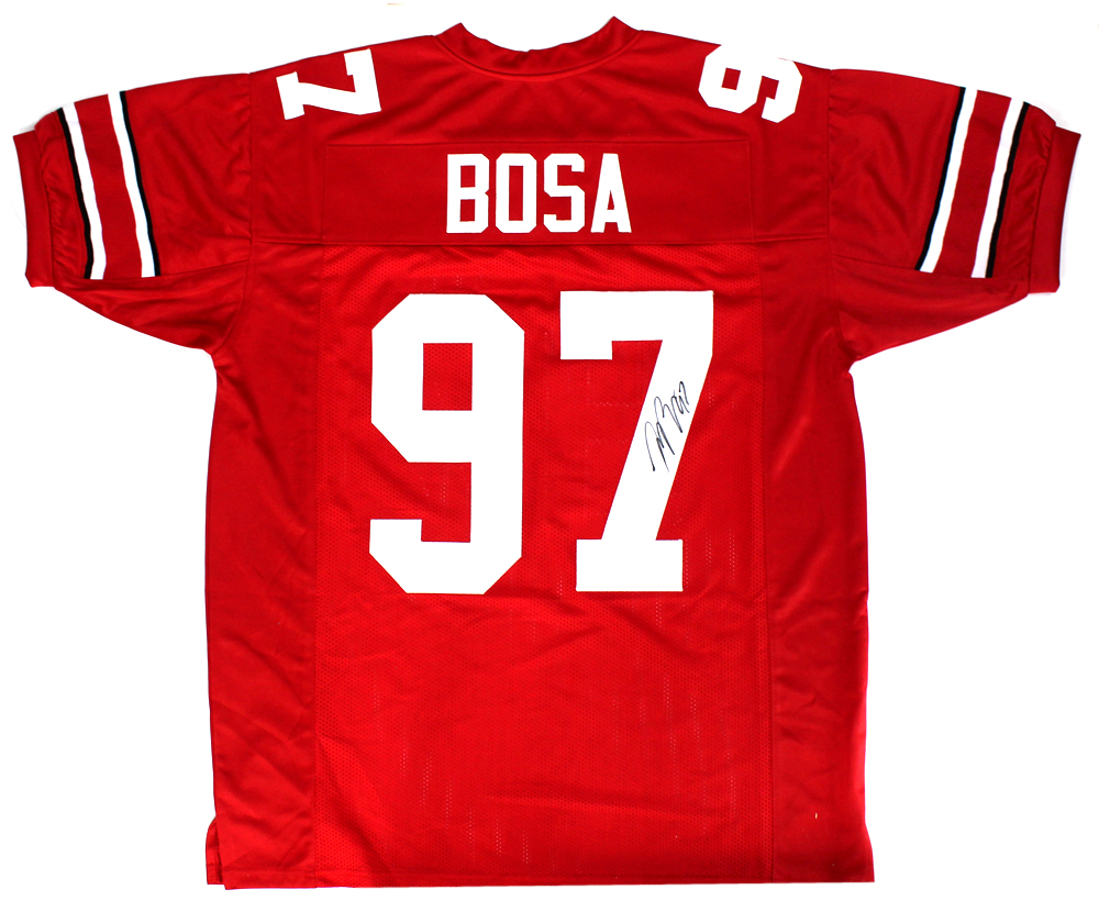 finest selection 593c7 4810f Joey Bosa Signed Ohio State Buckeyes Red Custom Jersey