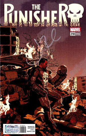 Jon Bernthal Signed Marvel Punisher Iron Man Mask Cover #218 Comic-0