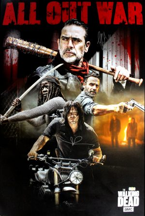 Norman Reedus & Jeffrey Dean Morgan Signed The Walking Dead Poster - All Out War-0
