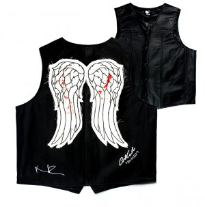 "Norman Reedus & Austin Amelio Signed Walking Dead Angel Wing Vest With ""Dwight"" Inscription -0"