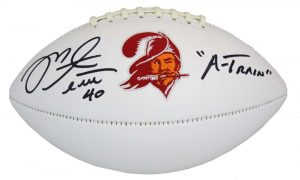 "Mike Alstott Signed Tampa Bay Buccaneers Throwback NFL Football ""A-Train"" Inscription-0"