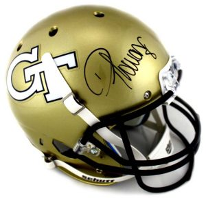 Demaryius Thomas Signed Georgia Tech Schutt Full-Size Helmet-0