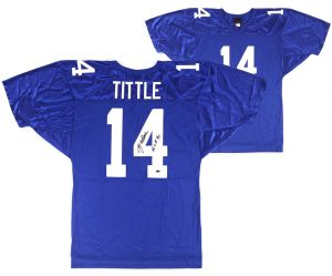 "Y.A. Tittle Signed New York Giants Wilson Authentic Jersey With ""HOF 71"" Inscription-0"