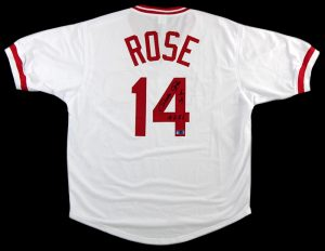 "Pete Rose Autographed/Signed Cincinnati Reds White Custom Jersey with ""4256"" Inscription-0"