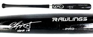 "Chipper Jones Signed Official Rawlings Pro Black Bat - ""HOF18"" Inscription-0"