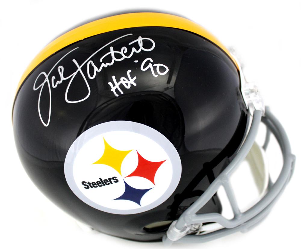 "4180bd6d23a Jack Lambert Signed Pittsburgh Steelers Riddell Throwback Full Size NFL  Helmet with""HOF 90″ Inscription"