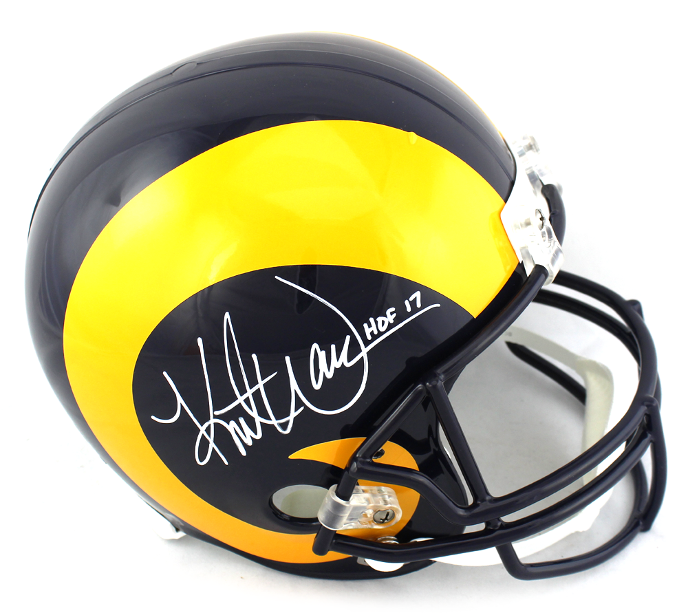 on sale ad4fa 974a3 Kurt Warner Signed Los Angeles Rams Throwback Full Size Helmet with