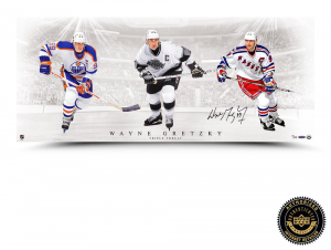 "Wayne Gretzky Signed ""Triple Threat"" 36x15 Photo-0"