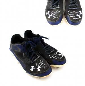 "Evan Gattis Signed Game Used Blue & Black Under Armor Cleats with ""2014 Game Used' Inscription-0"