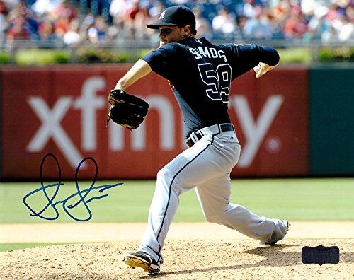 "Shae Simmons Autographed/Signed Atlanta Braves 8x10 MLB Photo ""Blue Jersey""-7810"