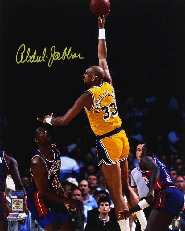 Kareem Abdul-Jabbar Signed Los Angeles Lakers 16x20 Photo - Sky Hook-0