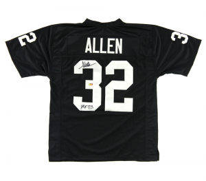 "Marcus Allen Signed Oakland Raiders Black Custom Jersey with ""HOF 03"" Inscription-0"