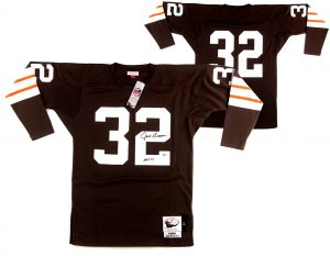 "Jim Brown Signed Cleveland Browns Mitchell & Ness Authentic Jersey With ""HOF 71"" Inscription -0"