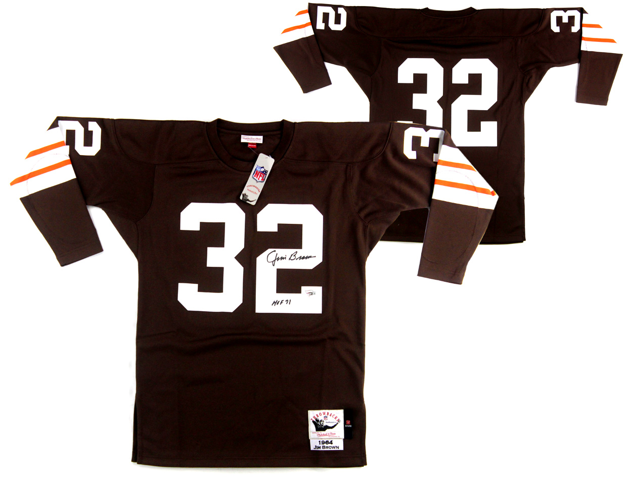 b25824a1 Jim Brown Signed Cleveland Browns Mitchell & Ness Authentic Jersey With
