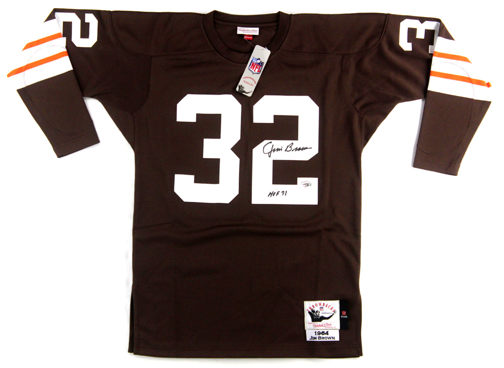 8388384e Jim Brown Signed Cleveland Browns Mitchell & Ness Authentic Jersey With