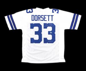 """Tony Dorsett Signed Dallas Cowboys White Custom Jersey with """"HOF 94"""" Inscription-0"""