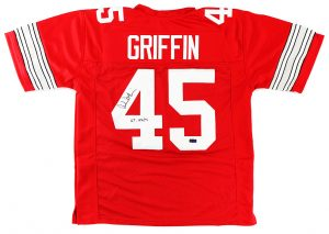 "Archie Griffin Signed Ohio State Buckeyes Custom Red Jersey With ""H.T. 1974/75"" Inscription-0"