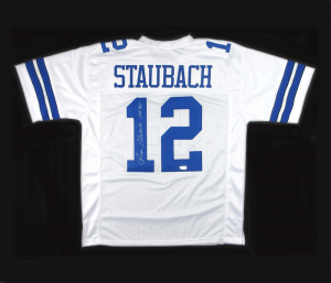 "Roger Staubach Autographed/Signed Dallas Cowboys Throwback Style Custom Jersey with ""HOF 85"" Inscription-0"