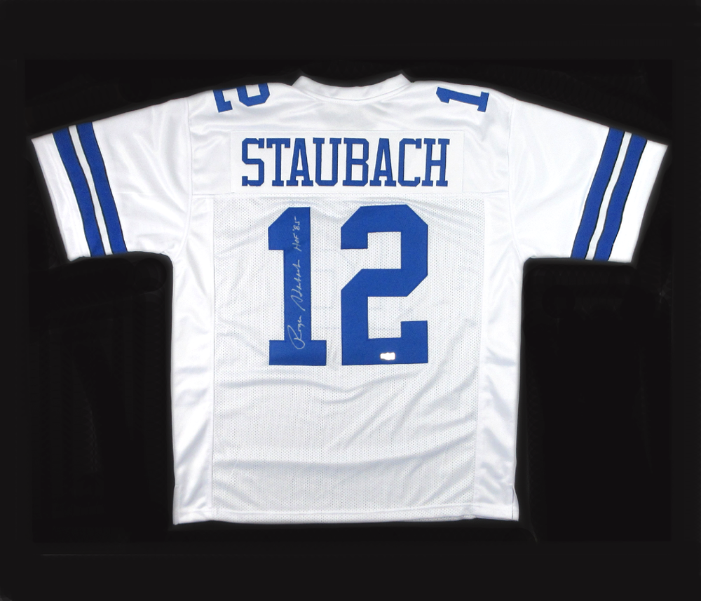 huge discount 3f000 c1937 Roger Staubach Autographed/Signed Dallas Cowboys Throwback Style Custom  Jersey with