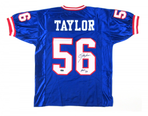 "Lawrence Taylor Signed New York Giants Custom Royal Blue Jersey with ""HOF 99"" Inscription-0"