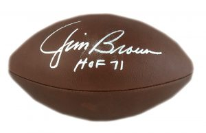 "Jim Brown Signed Cleveland Browns Authentic Duke NFL Football With ""HOF 71"" Inscription -20768"