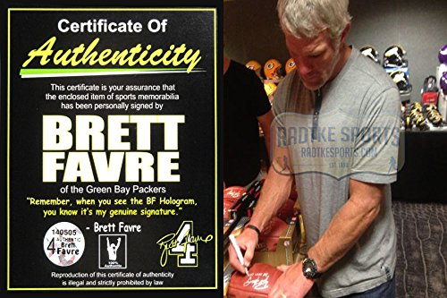 """Brett Favre Autographed/Signed Wilson Authentic Super Bowl 31 Football with """"SB XXXI Champs"""" Inscription - Silver Ink-6843"""