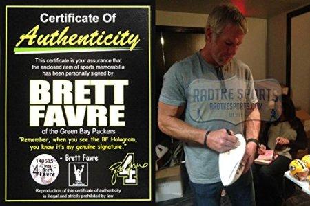 Brett Favre Autographed/Signed Minnesota Vikings White Panel NFL Logo Football-6840