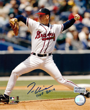 "Tom Glavine Signed Atlanta Braves 8x10 MLB Photo with ""HOF 2014"" Inscription-0"