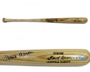 Hank Aaron Signed Genuine Louisville Slugger Blonde Game Model Bat - Atlanta Braves-0