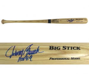 "Johnny Bench Signed Blonde Big Stick Bat with ""HOF 89"" Inscription - Cincinnati Reds-0"