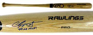 "Chipper Jones Signed Official Rawlings Pro Blonde Bat - ""99 NL MVP"" Inscription-0"